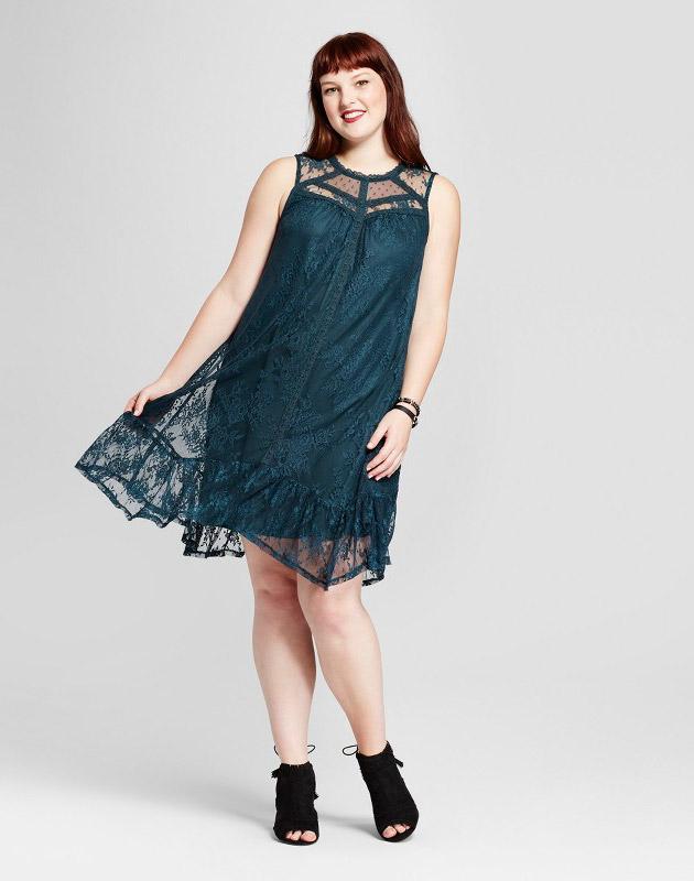 photo Plus Size Sleeveless Lace Dress by Xhilaration, color Dark Green - Image 1