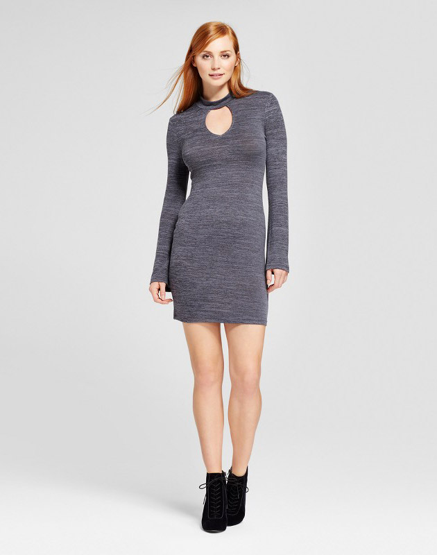 photo Long Sleeve Choker Dress by nitrogen, color Grey - Image 1