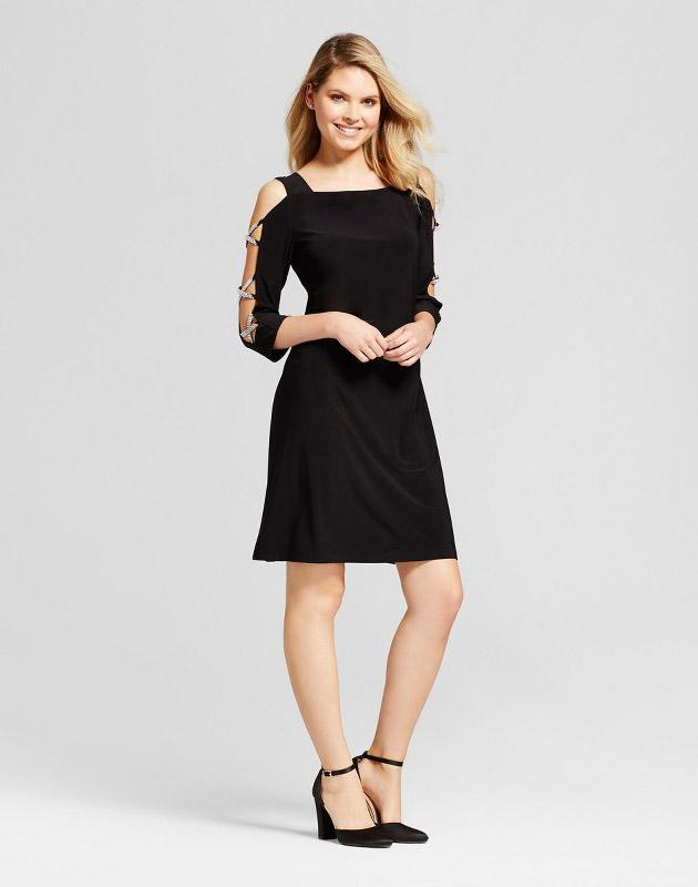 photo Rhinestone Sleeve Knit Shift Dress by Chiasso, color Black - Image 1