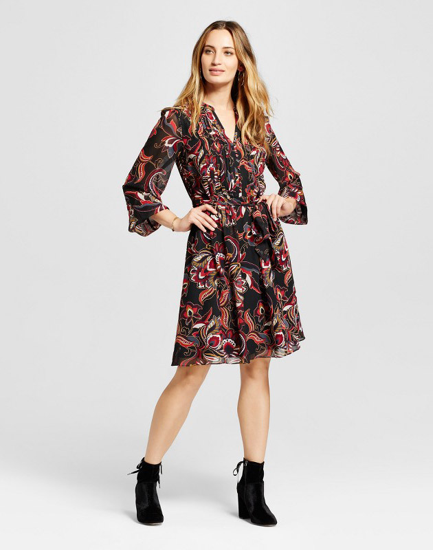 photo Printed Pleated Front Shirt Dress by Chiasso, color Black/Berry - Image 1