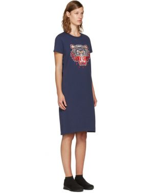 photo Navy Limited Edition Tiger T-Shirt Dress by Kenzo - Image 2