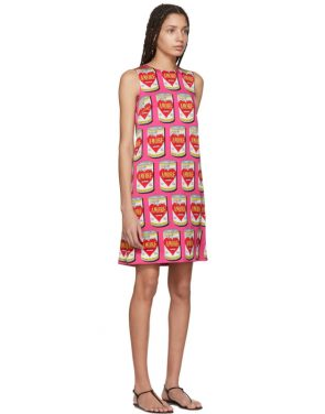 photo Pink A-Line Logo Amore Energy Dress by Dolce and Gabbana - Image 2