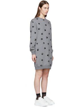 photo Grey Mini Swallow Sweatshirt Dress by McQ Alexander McQueen - Image 2