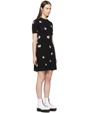 photo Black All-Over Mini Swallow Skater Dress by McQ Alexander McQueen - Image 2