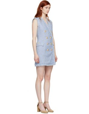 photo Blue Tweed Double-Breasted Dress by Balmain - Image 2
