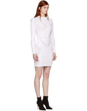 photo White Drop-Stitch Knit Dress by Balmain - Image 2