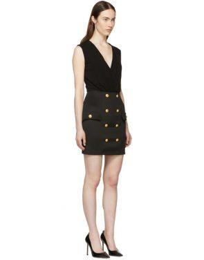 photo Black Sleeveless Gold Button Mini Dress by Balmain - Image 2