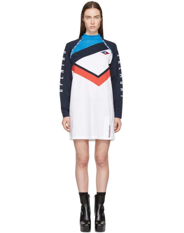 photo White and Navy Limited Edition Alpha T-Shirt Dress by Opening Ceremony - Image 1