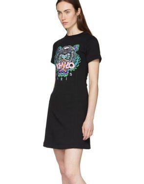 photo Black Tiger Flared T-Shirt Dress by Kenzo - Image 3