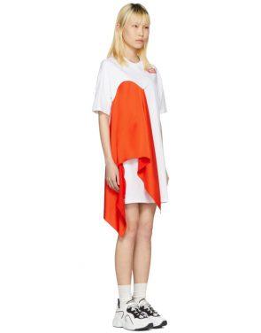 photo White Satin Insert T-Shirt Dress by MSGM - Image 2