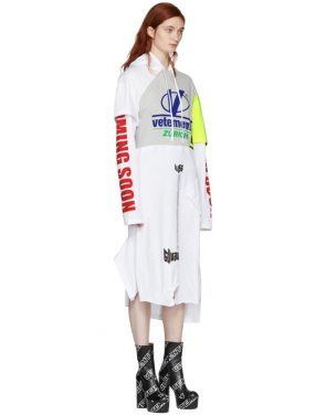 photo Grey and White Panelled Printed Hoodie Dress by Vetements - Image 2