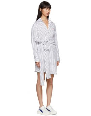 photo Black and White Striped Belted Shirt Dress by MSGM - Image 2