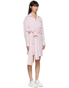 photo Red and White Striped Belted Shirt Dress by MSGM - Image 2