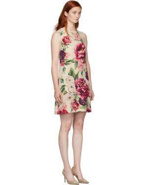photo Beige and Pink Peony Dress by Dolce and Gabbana - Image 2