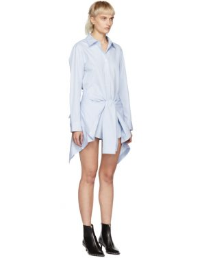 photo Blue and White Striped Front Tie Shirt Dress by Alexander Wang - Image 2