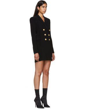 photo Black Cross-Over Six-Button Dress by Balmain - Image 2
