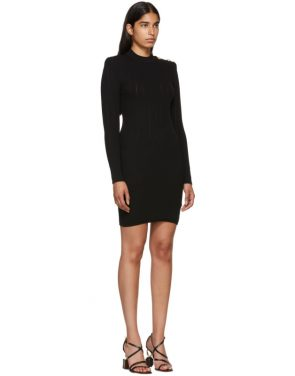 photo Black Long Sleeve Wool Dress by Balmain - Image 2