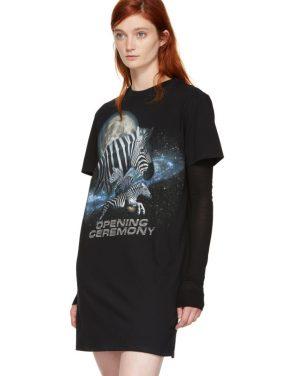 photo Black Cosmic Zebra T-Shirt Dress by Opening Ceremony - Image 4