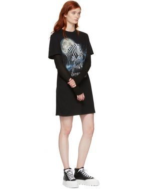 photo Black Cosmic Zebra T-Shirt Dress by Opening Ceremony - Image 5
