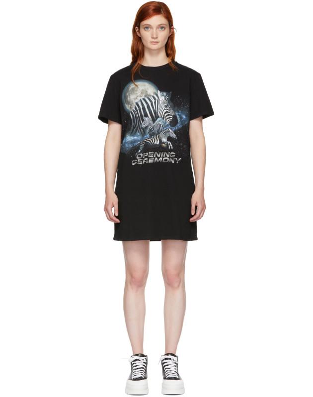 photo Black Cosmic Zebra T-Shirt Dress by Opening Ceremony - Image 1