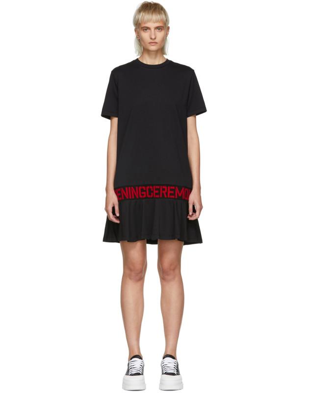 photo Black Elastic Logo T-Shirt Dress by Opening Ceremony - Image 1