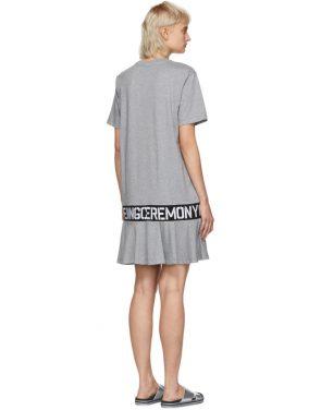 photo Grey Elastic Logo T-Shirt Dress by Opening Ceremony - Image 3