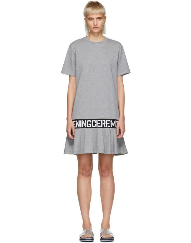 photo Grey Elastic Logo T-Shirt Dress by Opening Ceremony - Image 1