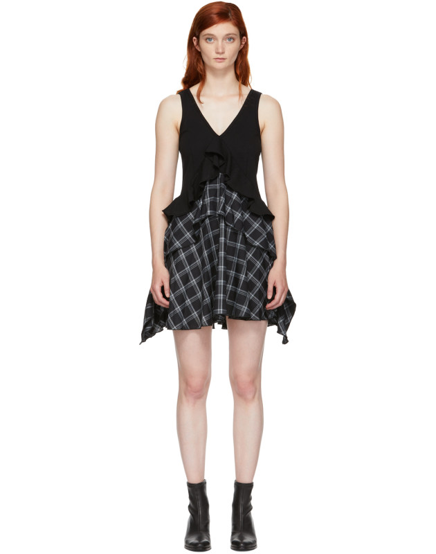 photo Black Plaid Mix Dress by Opening Ceremony - Image 1