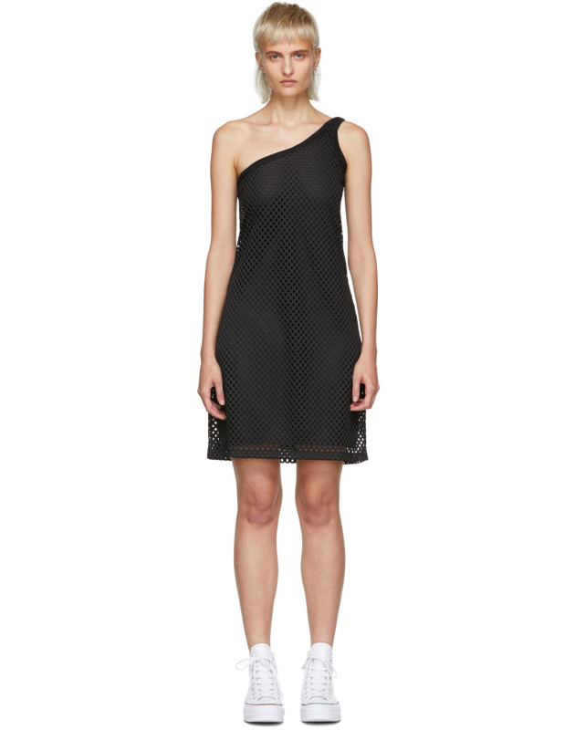 photo Black Mesh One-Shoulder Dress by Opening Ceremony - Image 1