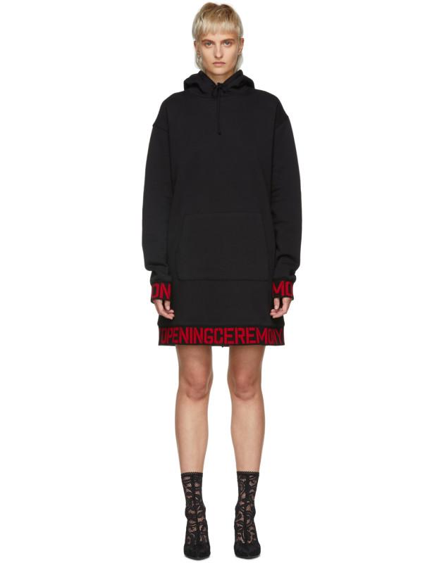 photo Black Elastic Logo Unisex Hoodie Dress by Opening Ceremony - Image 1