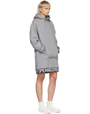 photo Grey Elastic Logo Unisex Hoodie Dress by Opening Ceremony - Image 5
