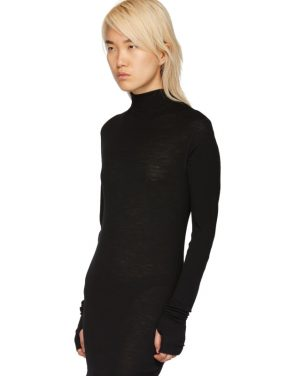 photo Black Rib Turtleneck Dress by Boris Bidjan Saberi - Image 4