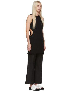 photo Black Silk Cut Away Tunic Dress by Marina Moscone - Image 2