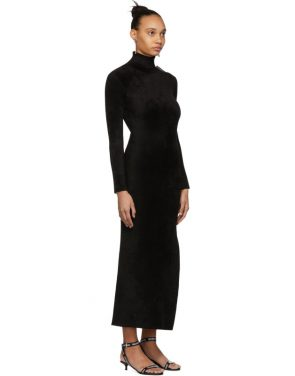 photo Black Velvet Turtleneck Fitted Dress by Balenciaga - Image 2