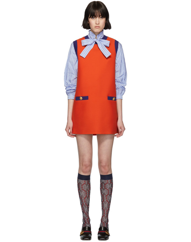 photo Red and Blue Bicolor Mini Dress by Gucci - Image 1