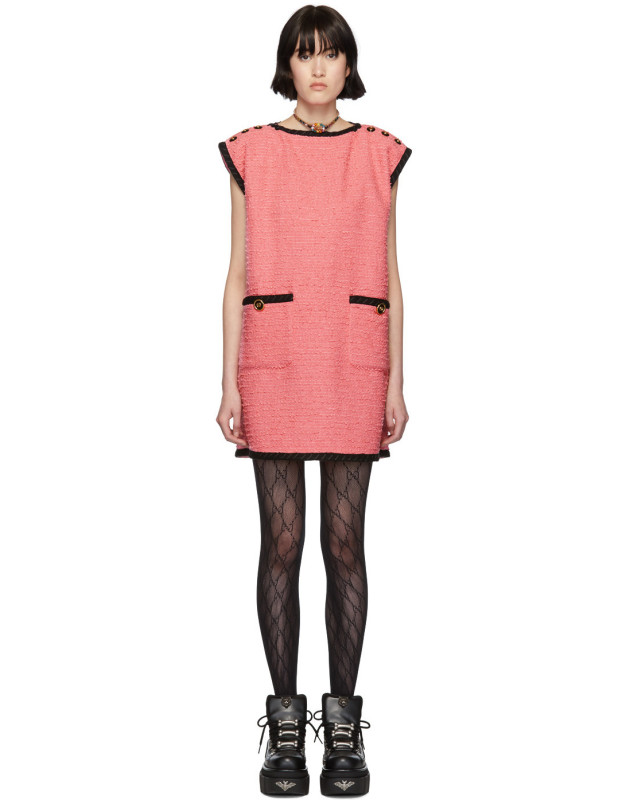 photo Pink Tweed GG Dress by Gucci - Image 1