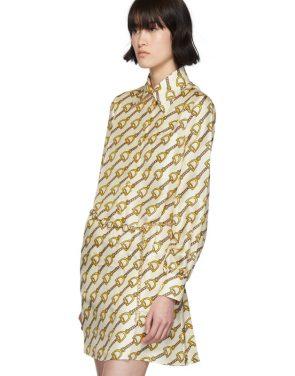 photo Off-White Silk Horsebit Dress by Gucci - Image 4