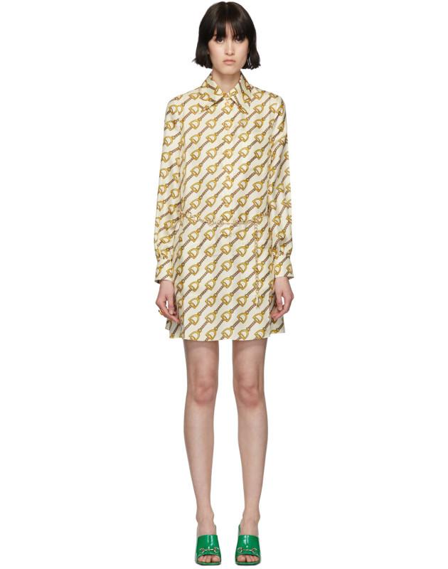 photo Off-White Silk Horsebit Dress by Gucci - Image 1