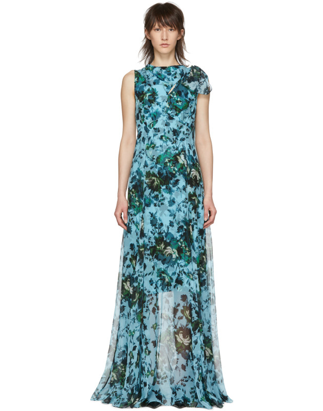 photo Blue and Green Fitzroy Rose Kassidy Dress by Erdem - Image 1