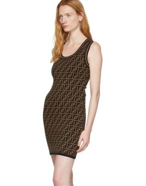 photo Black and Brown Knit Forever Dress by Fendi - Image 4