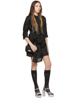 photo Black Pointy Collar Dress by Miu Miu - Image 5