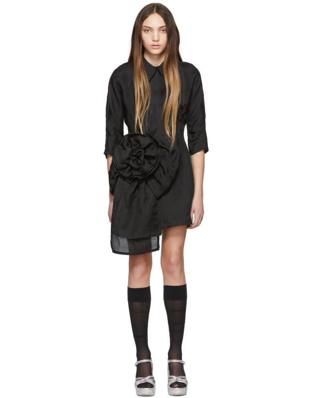 photo Black Pointy Collar Dress by Miu Miu - Image 1