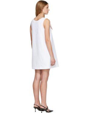 photo White Bow Detail Sleeveless Dress by Prada - Image 3