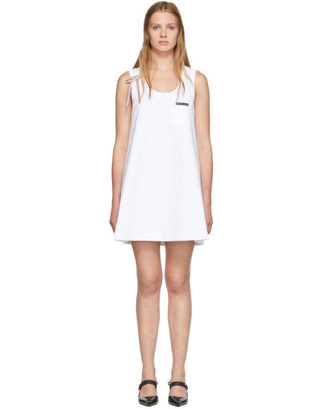 photo White Bow Detail Sleeveless Dress by Prada - Image 1