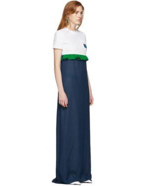 photo White and Blue Chiffon Long T-Shirt Dress by Prada - Image 2
