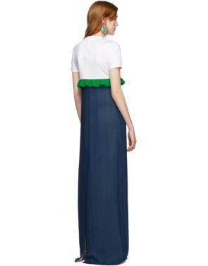 photo White and Blue Chiffon Long T-Shirt Dress by Prada - Image 3