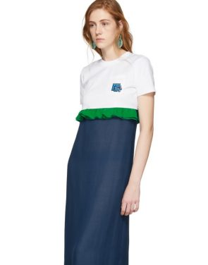 photo White and Blue Chiffon Long T-Shirt Dress by Prada - Image 4