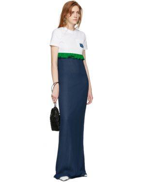 photo White and Blue Chiffon Long T-Shirt Dress by Prada - Image 5