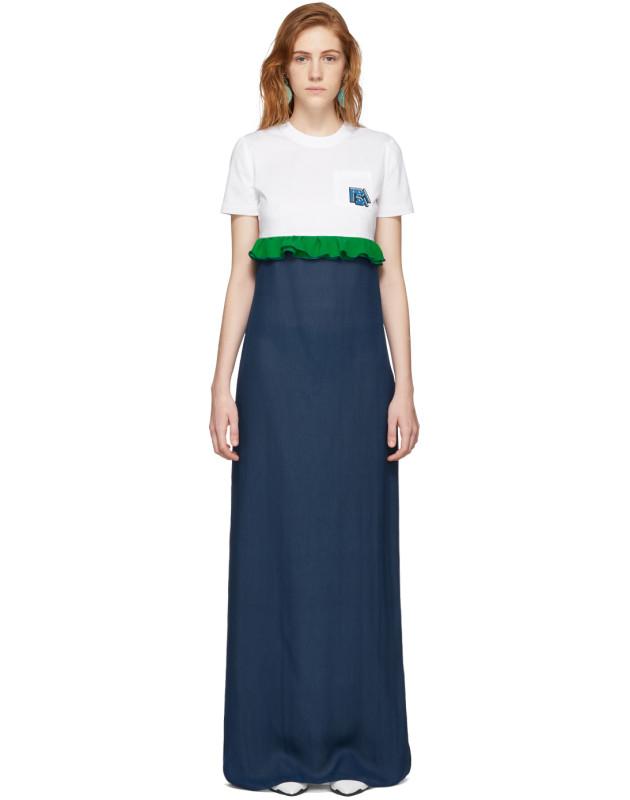 photo White and Blue Chiffon Long T-Shirt Dress by Prada - Image 1