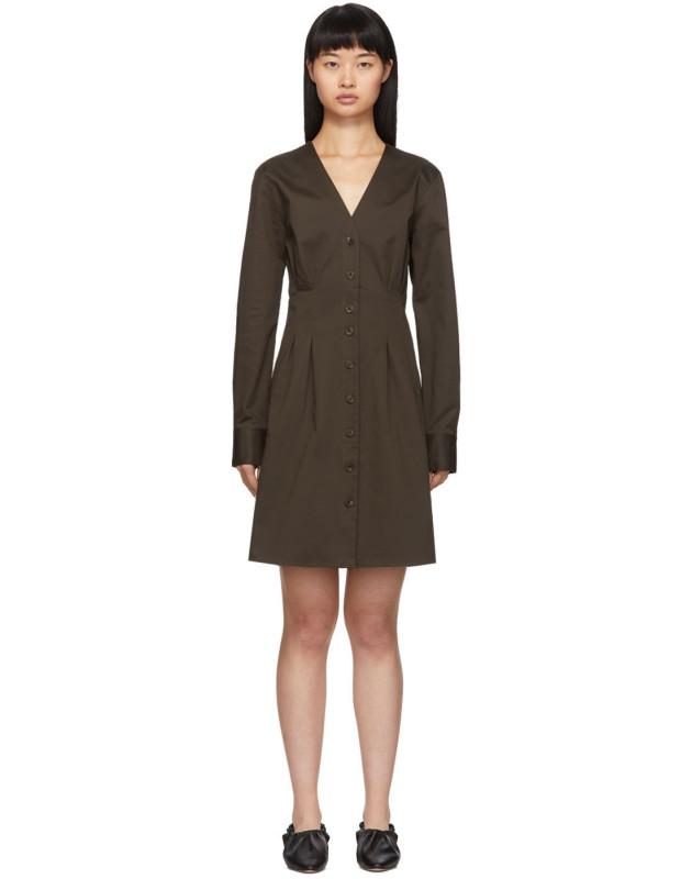 photo Brown Dominic Shirt Dress by Tibi - Image 1